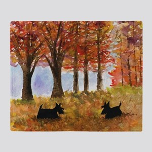 Autumn Scottie Dogs Throw Blanket